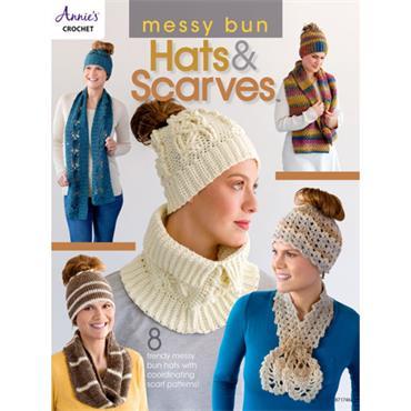 Annies Crochet Messy Bun Hats & Scarves (#871746)