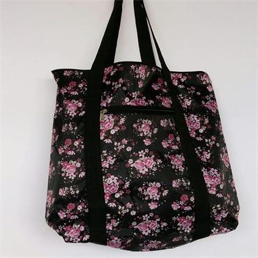 Knitting Bag - Black & Pink Floral