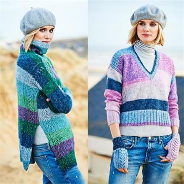 Stylecraft Pattern #9535 Sweaters & Mittens in Batik Swirl DK