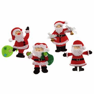 Craft Embellishment: Assorted Santas (Pack of 4)