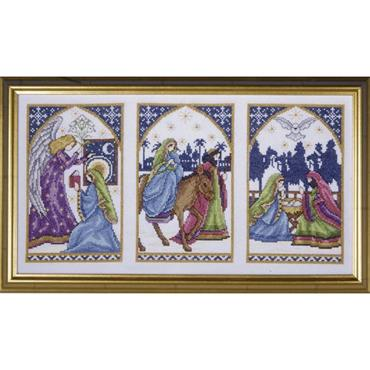 """Design Works Nativity Windows #5436 - Christmas Counted Cross Stitch Picture Kit 9""""  x  17"""""""