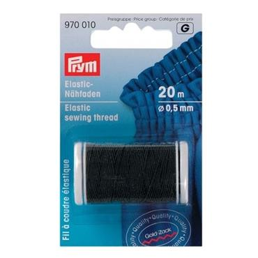 Elastic Sewing Thread - Black - 20m long, 0.5mm diameter