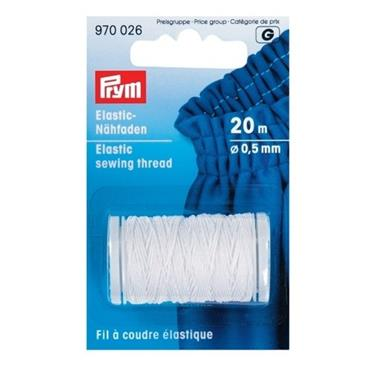 Elastic Sewing Thread - White - 20m long, 0.5mm diameter
