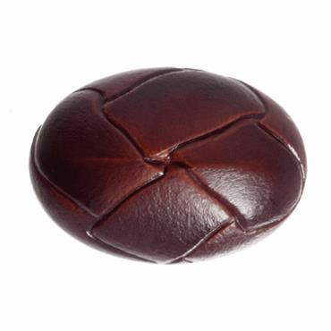 Faux Red/Brown Leather Oval Button - 25mm
