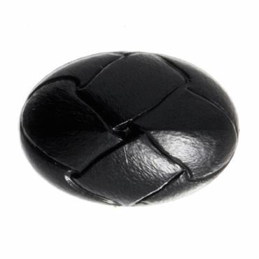 Faux Black Leather Oval Button - 20mm