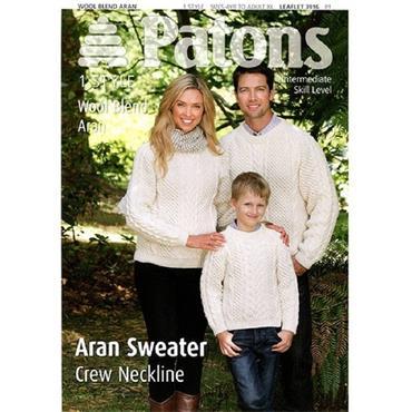 FREE >> Patons #3916 Aran Sweater Pattern with any Aran yarn (1000g or more )