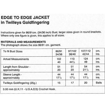Goldfingering Gold Rush CROCHET Pattern #7205 Edge to Edge Jacket