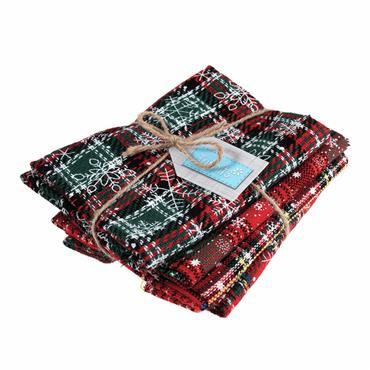 Snowflake Tartan Fat Quarter Fabric Bundle - GTC149  ***