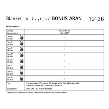 Pattern #10126 Crochet Blanket in Bonus Aran