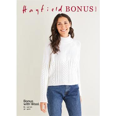 Hayfield Pattern #10221 Sweater Knitted in Bonus Aran with Wool  ***