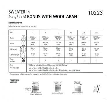 Pattern #10223 Sweater Knitted in Wool Aran