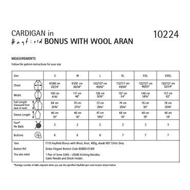 Hayfield Pattern #10224 Cardigan in Hayfield Bonus with Wool Aran