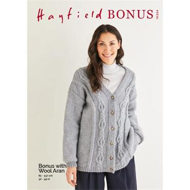Hayfield Pattern #10224 with chart, Cardigan in Hayfield Bonus Aran