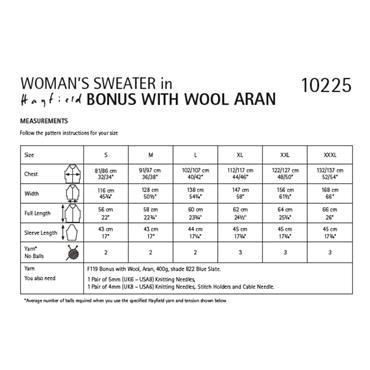 Hayfield Pattern #10225 Womans Sweater Knitted in Hayfield Bonus with Wool Aran  ***