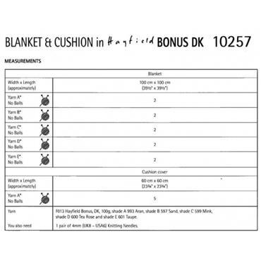 Hayfield Bonus Pattern #10257 Blanket & Cushion in Hayfield Bonus DK