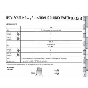 Hayfield Bonus Pattern #10338 Hat & Scarf in Bonus Chunky Tweed