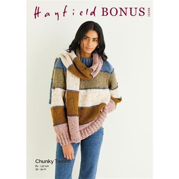 Hayfield Bonus Pattern #10339 Sweater & Scarf in Bonus Chunky Tweed