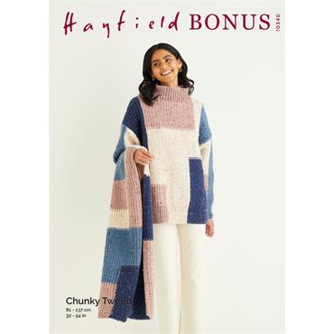 Hayfield Bonus Patter #10340 Sweater & Scarf in Bonus Chunky Tweed