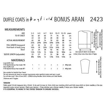 Pattern #2423 Duffle Coats Knitted in Hayfield Bonus Aran
