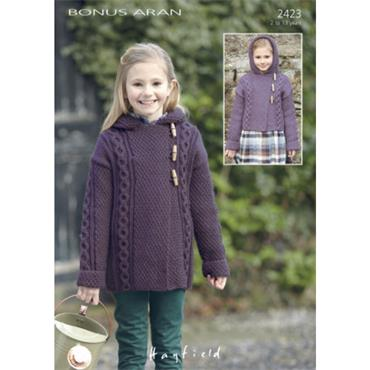 Pattern #2423 Duffle Coats Knitted in Hayfield Bonus Aran