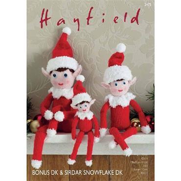 Hayfield Pattern #2475 Christmas Elves in Bonus DK & Snowflake DK
