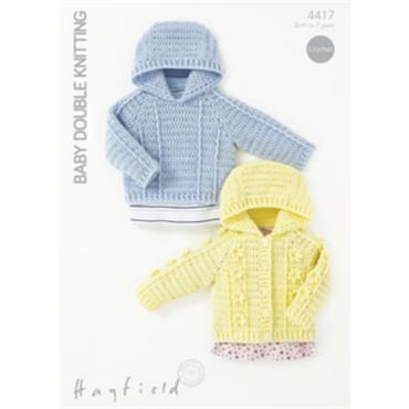 Hayfield Crochet #4417 Hooded Sweater & Jacket in DK