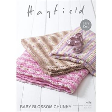Hayfield Pattern #4676 Blankets in Baby Blossom Chunky
