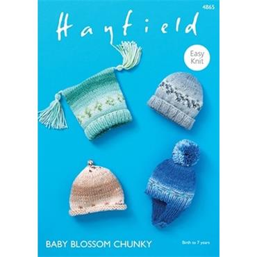 Hayfield Pattern #4865 Hats in Baby Blossom Chunky