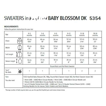 Pattern #5354 Babies Sweaters in Baby Blossom DK