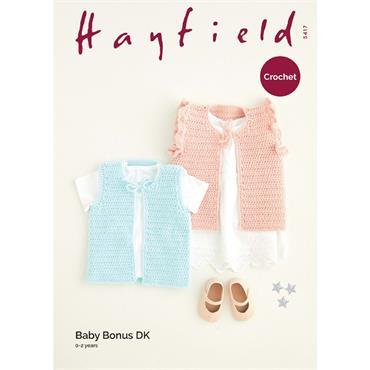 Hayfield Pattern #5417 Waistcoats in Baby Bonus DK