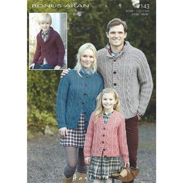 Hayfield Pattern #7143 Sweaters in Bonus Aran