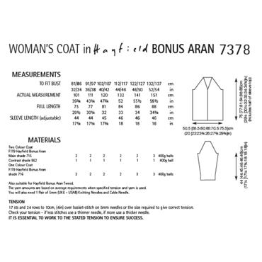Pattern #7378 Womens Coat Knitted in Hayfield Bonus Aran