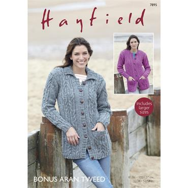 Pattern #7895 Cardigans Knitted in Hayfield Bonus Aran Tweed