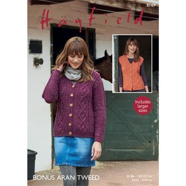 Hayfield #8169 Cardigan & Waistcoat in Bonus Aran Tweed