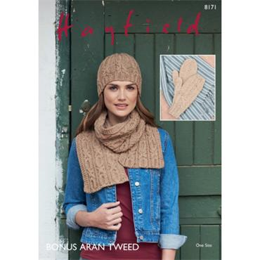 Hayfield #8171 Scarf, Hat & Mittens in Hayfield Bonus Aran Tweed  ***