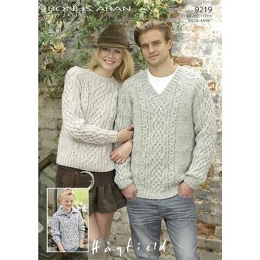 Hayfield Bonus Pattern #9219 Sweaters in Bonus Aran