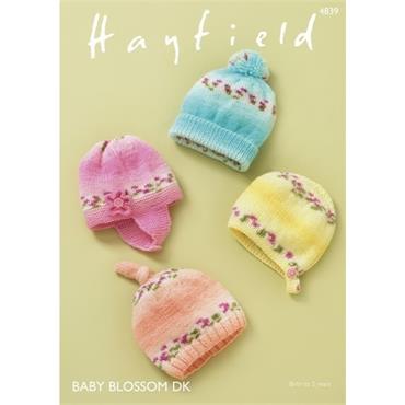 Hayfield Pattern #4839 Hats in Blossom DK