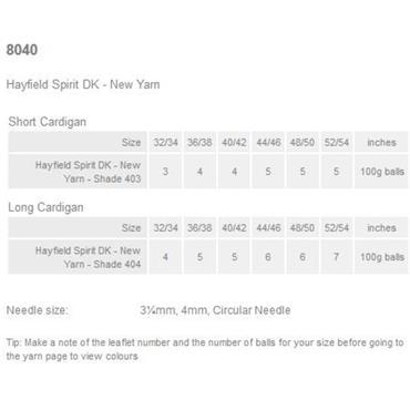 Hayfield Pattern #8040 Cardigans in Spirit DK