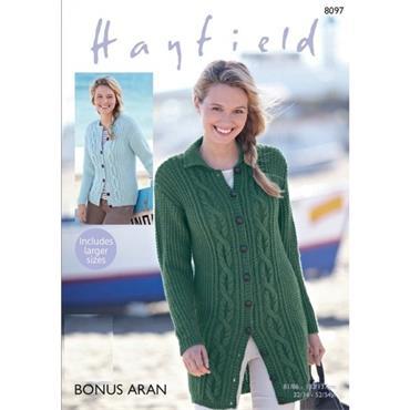Hayfield Pattern #8097 Aran Cardigans