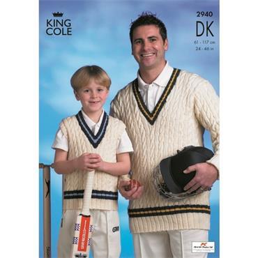 King Cole Pattern #2940 - Mens & Boys Cricket Sweaters in DK