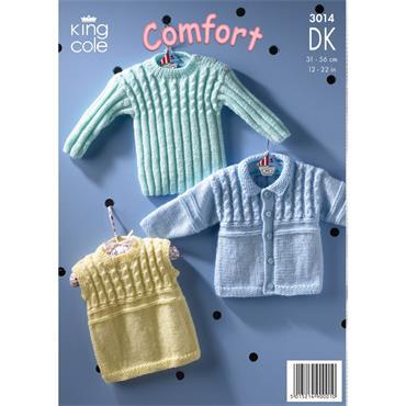 King Cole Pattern#3014 Sweater, Jacket & Slipover in Comfort DK