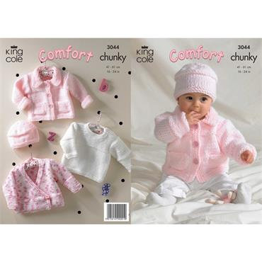 King Cole Pattern #3044 Jacket, Sweater, Cardigan & Hat in Chunky