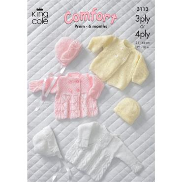King Cole Pattern #3113 Jacket, Coat, Bonnet & Hat in Baby Comfort 3Ply and Baby 4Ply