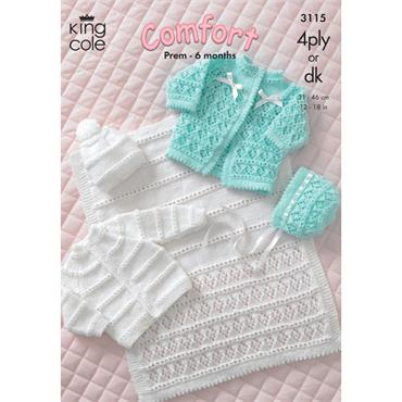 King Cole Pattern #3115 Coat, Cardigan, Bonnet, Hat and Pram Cover in Comfort 4Ply/3Ply