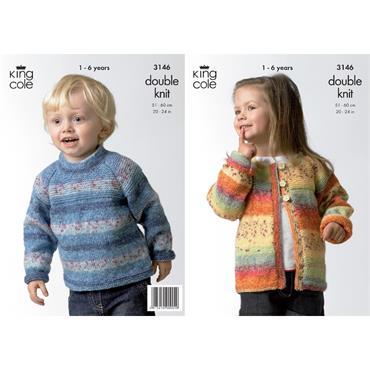 King Cole Pattern #3146 Sweater & Cardigan in Splash DK