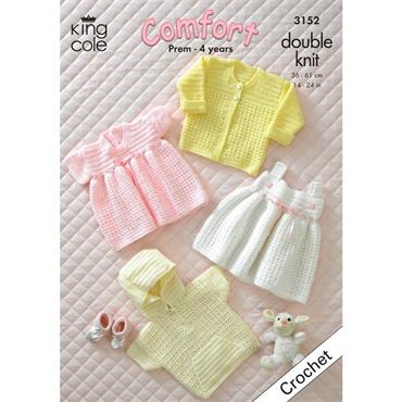 King Cole #3152 Crochet Baby Jacket, Cardigan and Dresses in DK