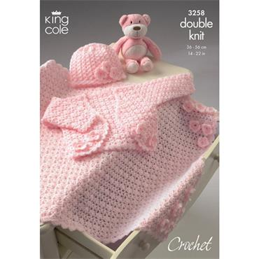King Cole Pattern #3258 Bolero, Hat and Pram Blanket Crocheted in DK ***