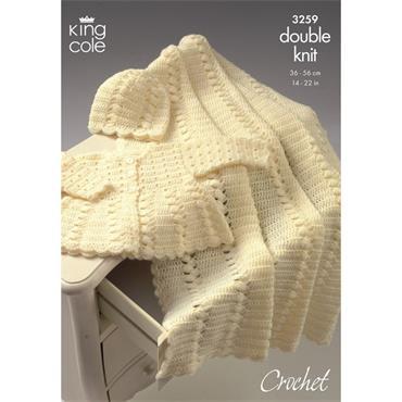 King Cole Crochet Pattern #3259 Coat Shawl & Hat in DK