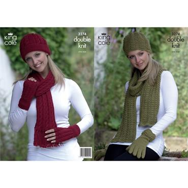 King Cole Pattern #3274 Hats, Scarves & Gloves in Baby Alpaca DK