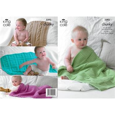 King Cole Pattern #3393 Babie's Blankets in Comfort Chunky
